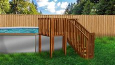 2019 deck mate 21 x52 pool package and deck closeout swimming pool discounters - Above Ground Pool Wooden Deck Kits