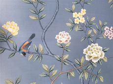silk wallpaper chinoiserie chinoiserie handpainted wallpaper in sky blue silk 3 by 7 ft etsy