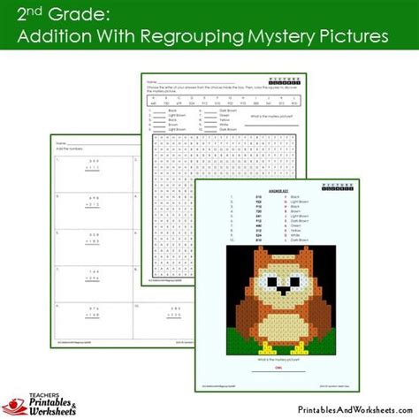 2nd grade addition regrouping mystery pictures coloring worksheet