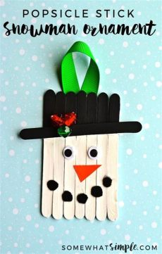 diy craft stick santa snowman craft for kids easy popsicle stick snowman ornament craft somewhat simple