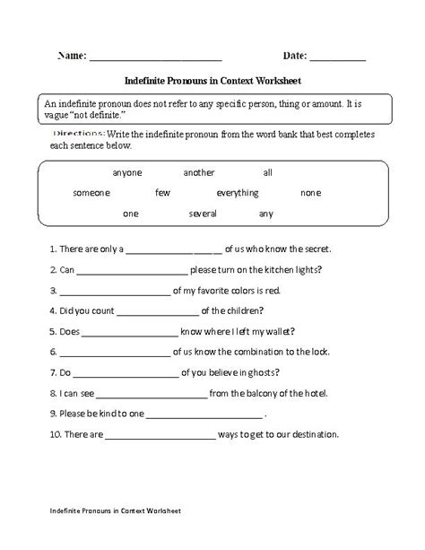 indefinite pronouns context worksheet englishlinx board pinterest worksheets