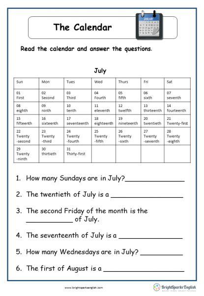 calendar english reading worksheet english treasure trove