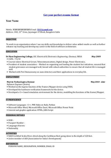 resume writing freshers