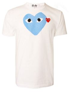 comme des garcons play white t shirt comme des gar 231 ons play mens blue logo t shirt white in blue for lyst
