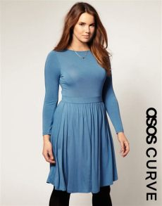 asos curve collection asos collection asos curve skater dress with gathered waist in blue lyst