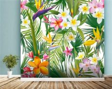 tropical wallpaper for walls australia tropical palm leaves and flowers wallpaper wall mural wallsauce australia