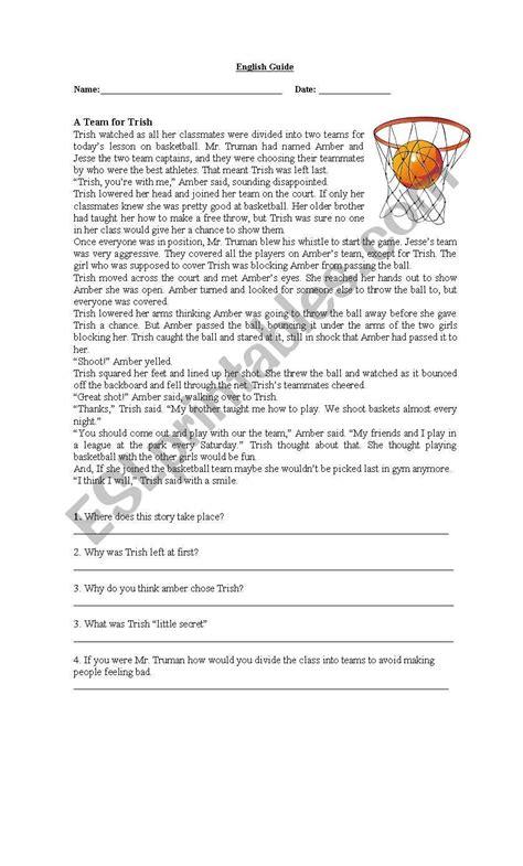 basketball reading comprehension esl worksheet francisloy