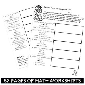 math worksheets mixed review 5th grade bundle kitten