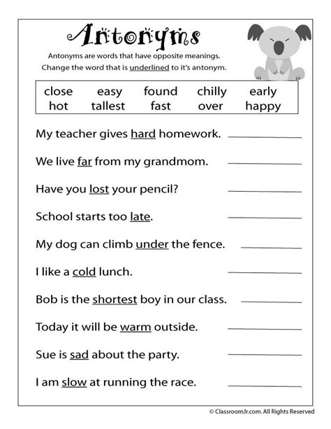reading worksheets antonyms synonyms antonym worksheet classroom jr