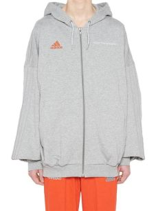 gosha rubchinskiy adidas hoodie zip gosha rubchinskiy cotton x adidas logo zip up hoodie in grey gray for lyst
