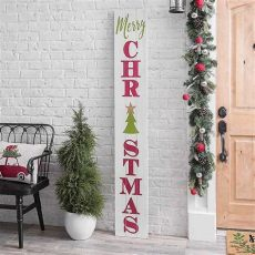 white merry porch board signs wood porch front doors - Porch Board Christmas