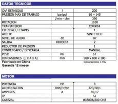 tabla tecnica de compresores catalogo de compresores