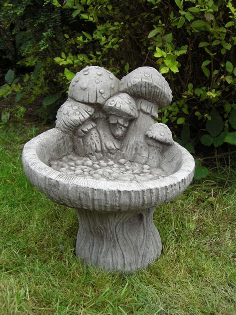 mushroom bird bath feeder table hand cast stone