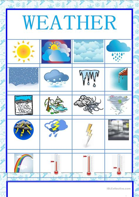 picture dictonary weather english esl worksheets distance learning