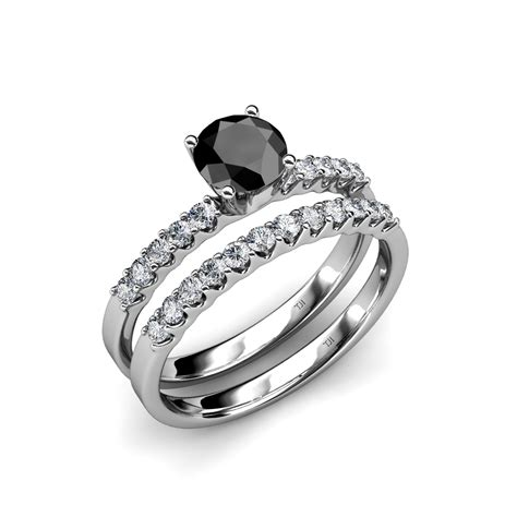black white diamond halo bridal set ring wedding