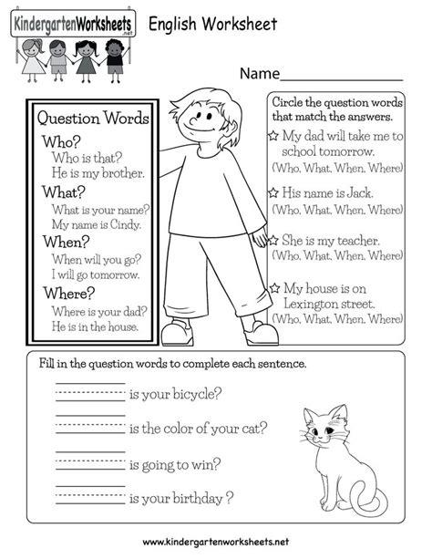 question words worksheet kindergarteners kids learn sentences