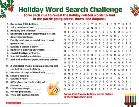 happy holiday word search worksheets printables scholastic parents