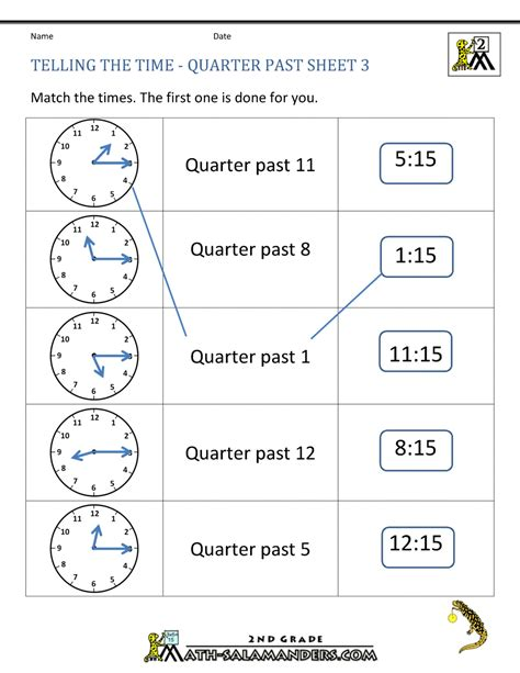 clock worksheets quarter quarter