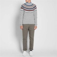 norse projects birnir fair isle crew knit norse projects wool birnir fair isle crew knit in grey gray for lyst