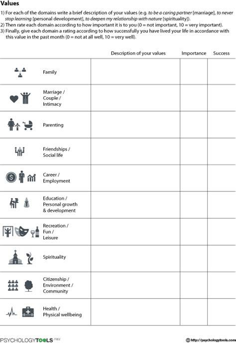 values worksheet psychology tools