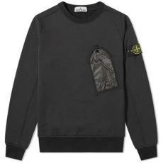 stone island garment dyed pocket crew sweat island pocket detail crew sweat black end
