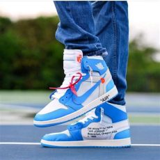 jordan 1 off white blue on feet brand drops white x air 1 quot unc quot during june 2018 sole look