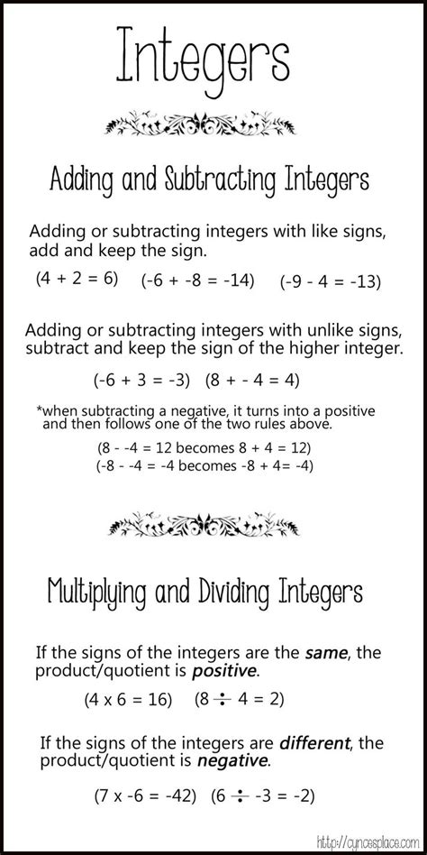adding subtracting multiplying dividing integers chart 3 1
