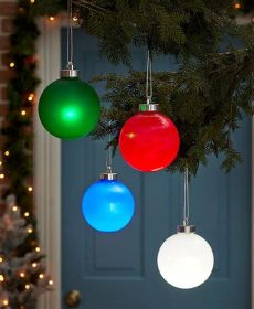 outdoor christmas ball ornaments everglow outdoor hanging ornament choose green blue or white ebay