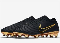 black and gold nike foosites this image shows the nike flyknit ultra football boots which feature the same colors as the