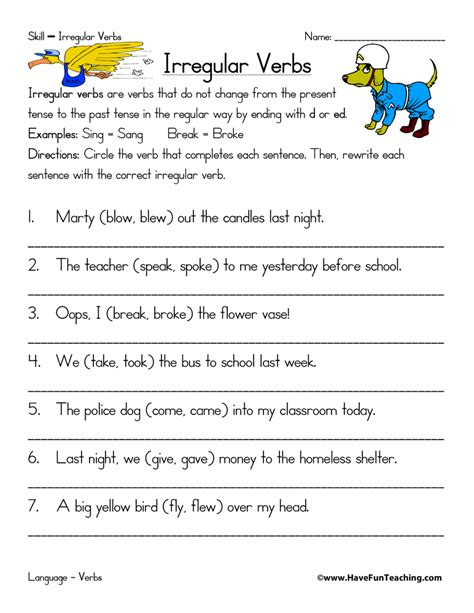 irregular verbs worksheet fun teaching