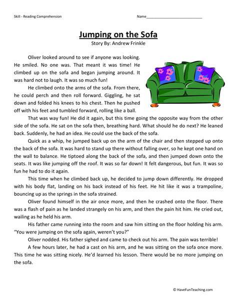 reading comprehension worksheet jumping sofa