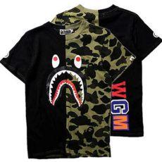 bape a bathing ape camo t shirt crew neck shark t shirt tops mens basic ebay - Bape Shirt Shark