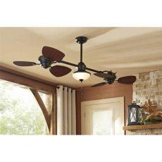 harbor breeze dual fan silver harbor ii 74 in rubbed bronze outdoor downrod ceiling fan buy in