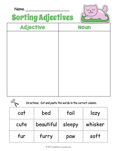 free printable kitty adjective sorting worksheet adjective worksheet