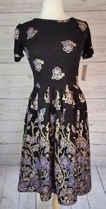 lularoe amelia medium lularoe m medium amelia dress black gold foil purple blue floral dipped ebay