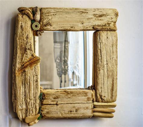 beautiful decorative mirror beach cottage style driftwood seashells