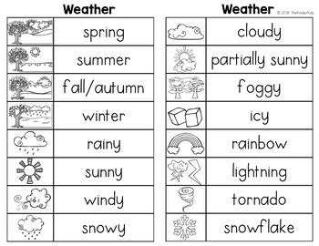 weather word list writing center kinder kids tpt