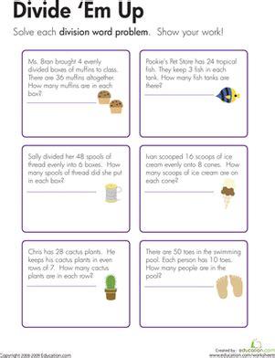 division word problems divide em worksheet education