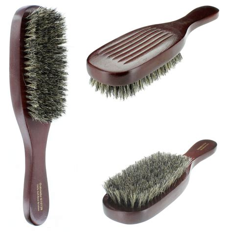 wave hair brush wood handle reinforced soft bristle