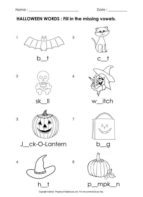 free halloween worksheets fill missing vowels kiddyhouse themes