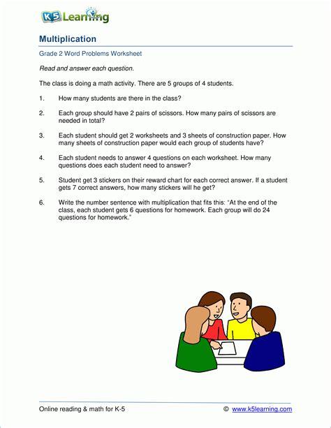 2nd grade multiplication word problem worksheets k5 learning