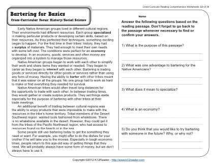 bartering basics reading comprehension worksheets comprehension worksheets 7th
