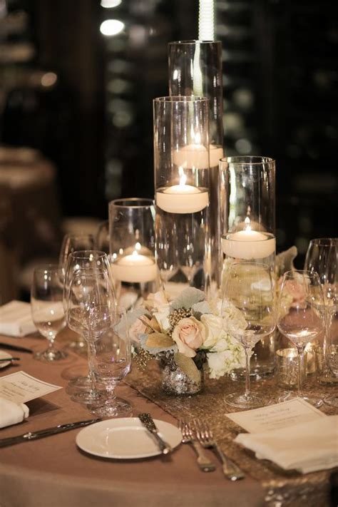 glass floating candle wedding reception centerpiece candle wedding