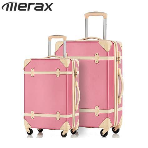merax retro luggage sets 2pcs pink vintage suitcases