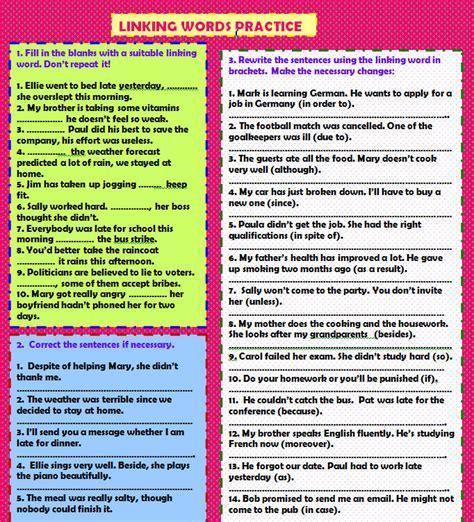 linking words practice worksheet