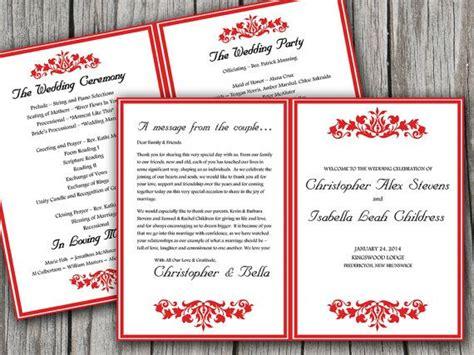 printable fold wedding program template microsoft word budding