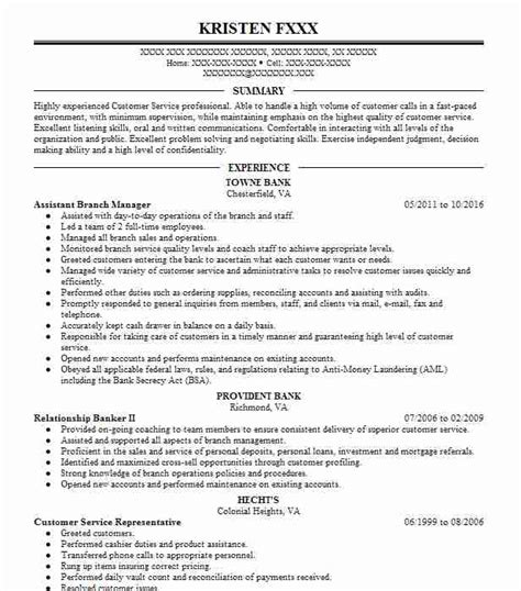 assistant branch manager resume sle banking resumes livecareer