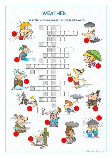 weather crossword puzzle worksheet free esl printable worksheets
