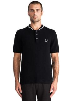 fred perry fred perry x raf simons shirt w knit bomber neck in black casual shirts - Fred Perry X Raf Simons Sale
