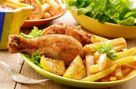 food meal chicken fries salad vegetables delicious wallpaper